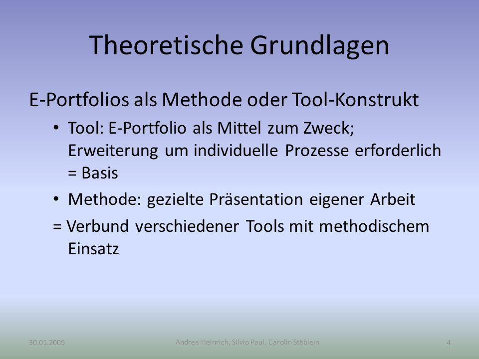 Andrea Heinrich, Silvio Paul, Carolin Stäblein Theoretische Grundlagen E-Portfolios als Methode oder Tool-Konstrukt Tool: E-Portfolio als Mittel zum Z