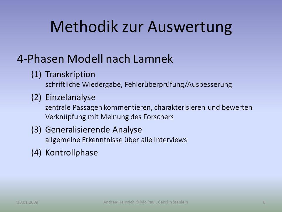Andrea Heinrich, Silvio Paul, Carolin Stäblein Methodik zur Auswertung 4-Phasen Modell nach Lamnek (1)Transkription schriftliche Wiedergabe, Fehlerübe