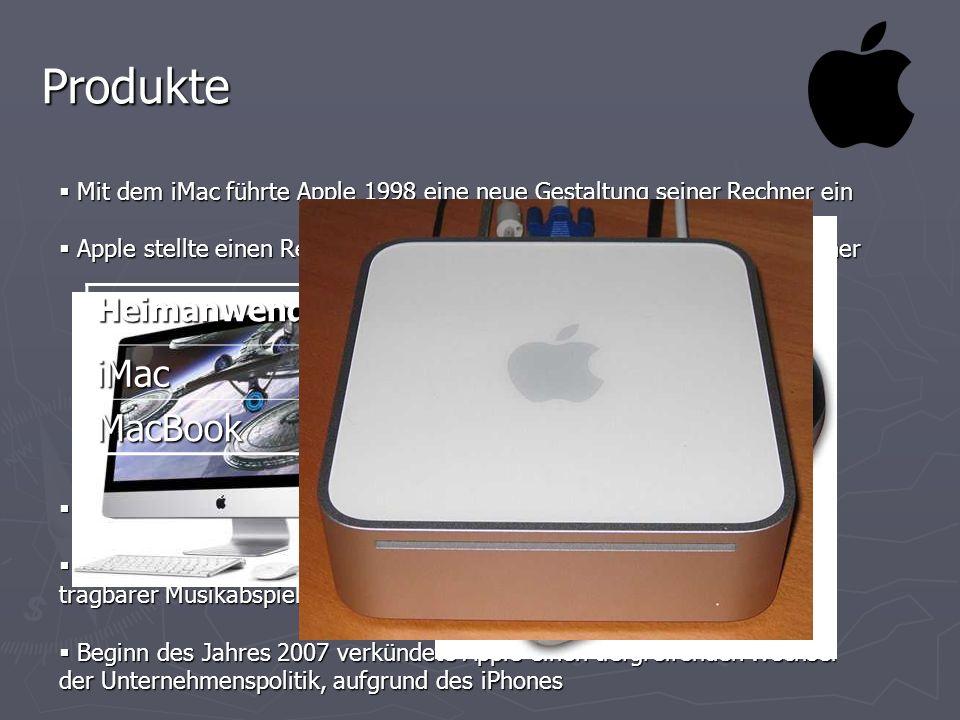 Produkte Mit dem iMac führte Apple 1998 eine neue Gestaltung seiner Rechner ein Mit dem iMac führte Apple 1998 eine neue Gestaltung seiner Rechner ein
