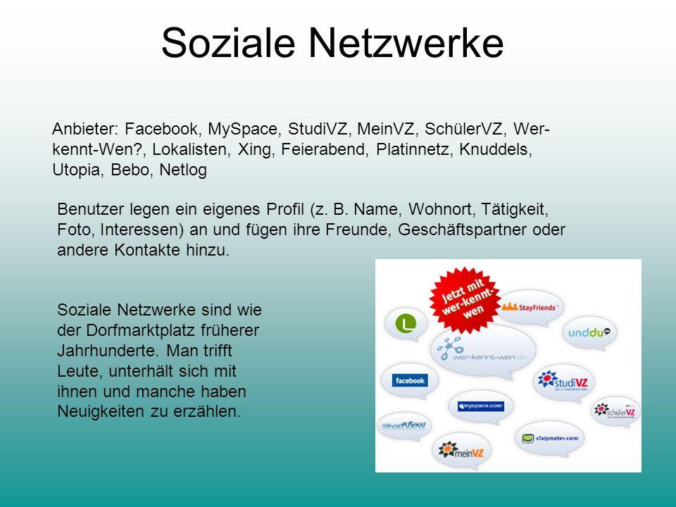 Soziale Netzwerke Anbieter: Facebook, MySpace, StudiVZ, MeinVZ, SchülerVZ, Wer- kennt-Wen?, Lokalisten, Xing, Feierabend, Platinnetz, Knuddels, Utopia