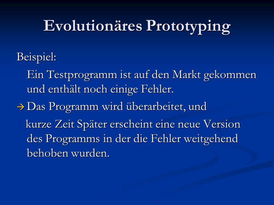 Evolutionäres Prototyping Beispiel: Ein Testprogramm ist auf den Markt gekommen und enthält noch einige Fehler. Das Programm wird überarbeitet, und Da