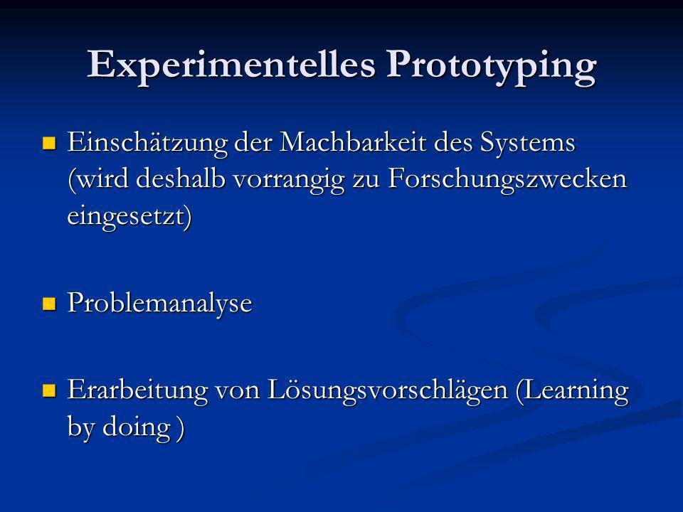 Einschätzung der Machbarkeit des Systems (wird deshalb vorrangig zu Forschungszwecken eingesetzt) Einschätzung der Machbarkeit des Systems (wird desha