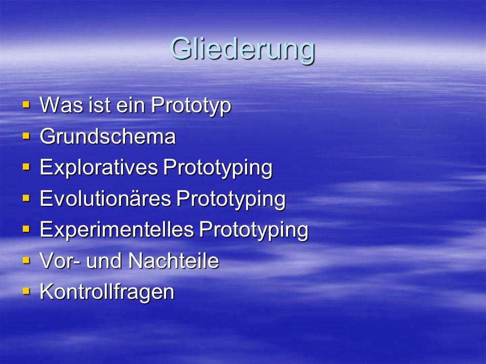 Gliederung Was ist ein Prototyp Was ist ein Prototyp Grundschema Grundschema Exploratives Prototyping Exploratives Prototyping Evolutionäres Prototypi