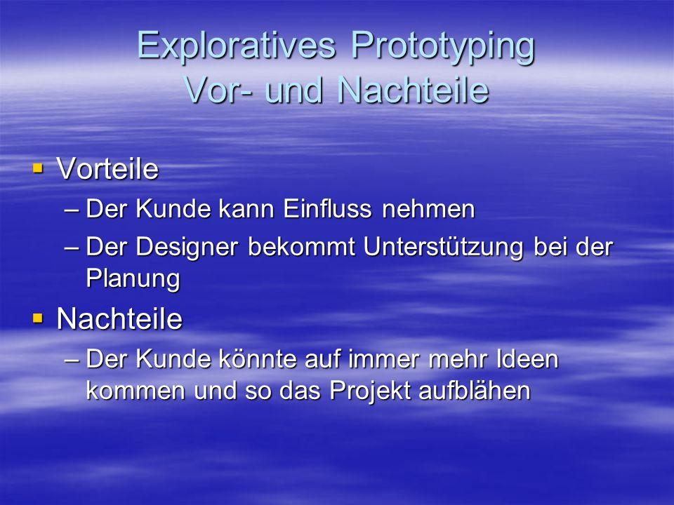 Exploratives Prototyping Vor- und Nachteile Vorteile Vorteile –Der Kunde kann Einfluss nehmen –Der Designer bekommt Unterstützung bei der Planung Nach
