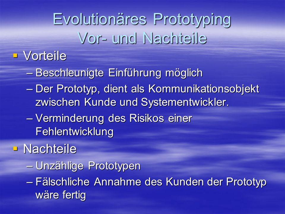 Evolutionäres Prototyping Vor- und Nachteile Vorteile Vorteile –Beschleunigte Einführung möglich –Der Prototyp, dient als Kommunikationsobjekt zwische