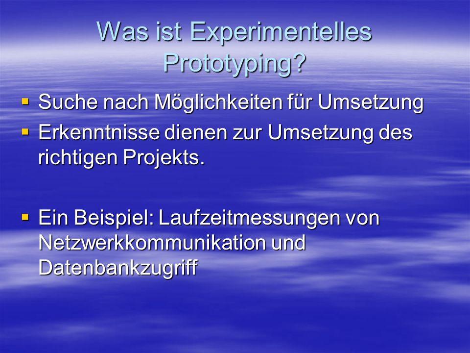 Was ist Experimentelles Prototyping? Suche nach Möglichkeiten für Umsetzung Suche nach Möglichkeiten für Umsetzung Erkenntnisse dienen zur Umsetzung d