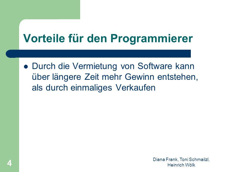 Diana Frank, Toni Schmailzl, Heinrich Wölk 4 Vorteile für den Programmierer Durch die Vermietung von Software kann über längere Zeit mehr Gewinn entst