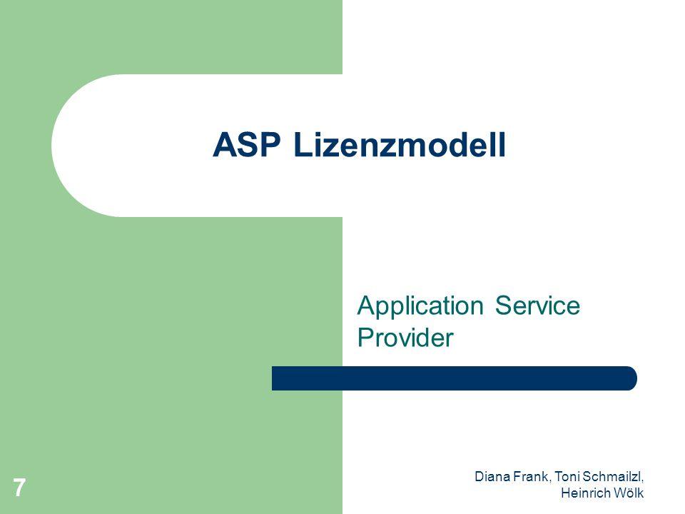 Diana Frank, Toni Schmailzl, Heinrich Wölk 8 Gliederung Begriffserklärung Aufgaben eines ASPs Vertrag Warum ASP(*) – Programmierer – Kunden Privat Unternehmen