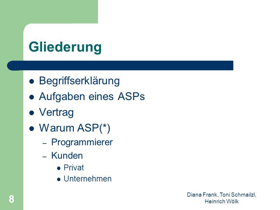 Diana Frank, Toni Schmailzl, Heinrich Wölk 8 Gliederung Begriffserklärung Aufgaben eines ASPs Vertrag Warum ASP(*) – Programmierer – Kunden Privat Unt