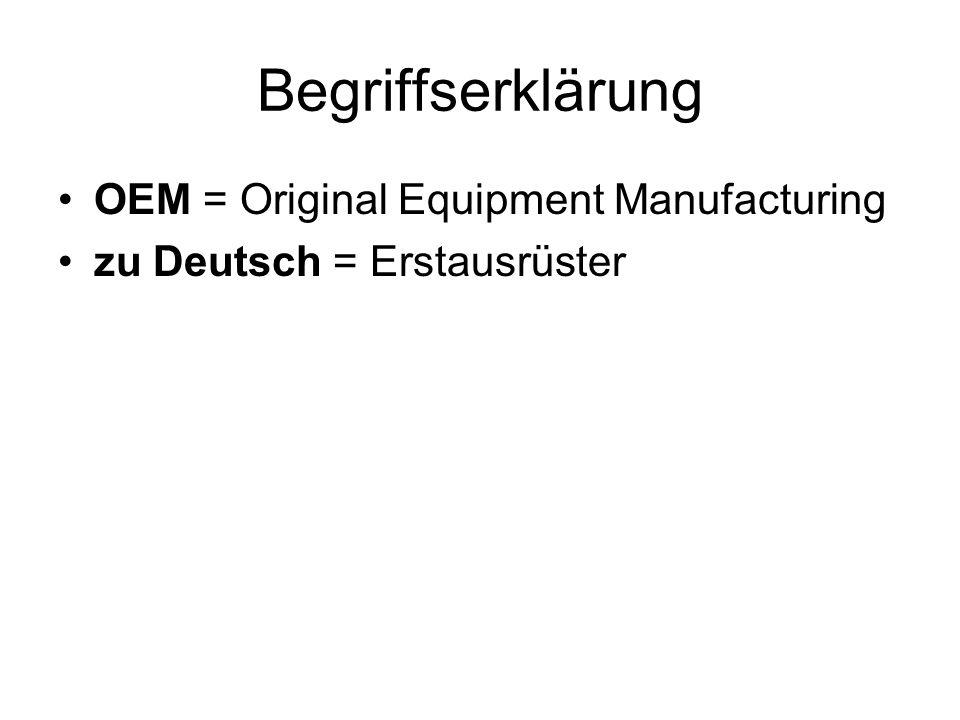 Begriffserklärung OEM = Original Equipment Manufacturing zu Deutsch = Erstausrüster
