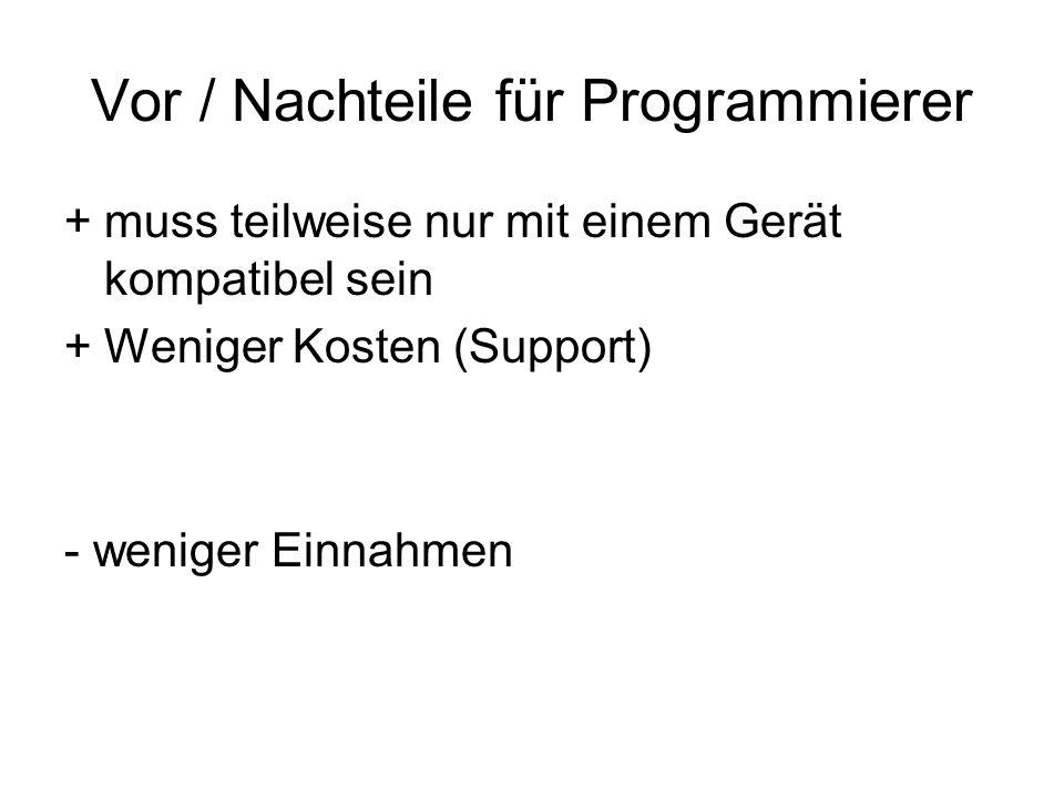 Vor / Nachteile für Programmierer +muss teilweise nur mit einem Gerät kompatibel sein +Weniger Kosten (Support) - weniger Einnahmen