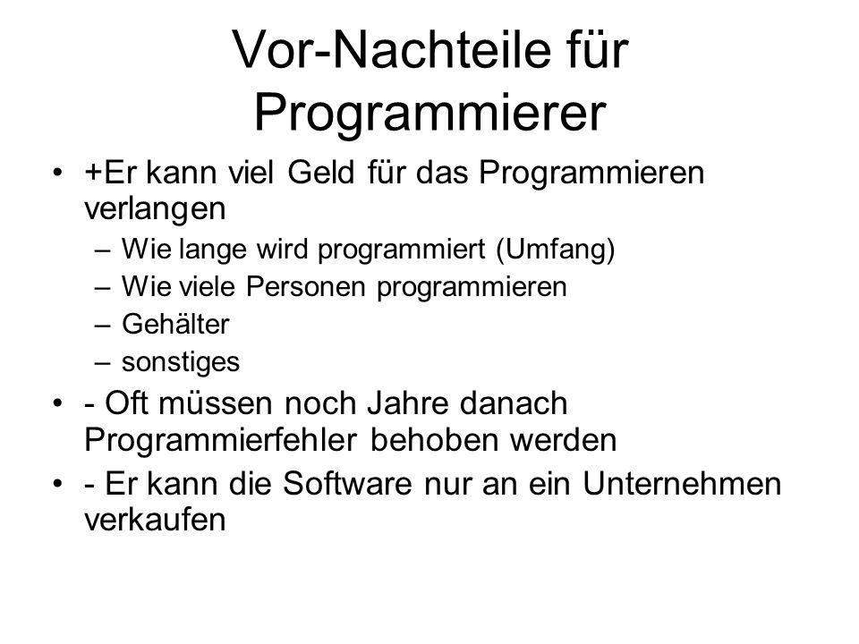 Vor-Nachteile für Programmierer +Er kann viel Geld für das Programmieren verlangen –Wie lange wird programmiert (Umfang) –Wie viele Personen programmi