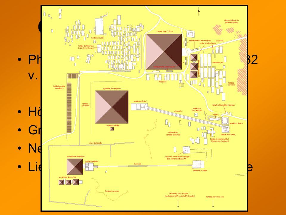 Chephrenpyramide Pharao Chephren regierte 2558 bis 2532 v. Chr. Höhe: 143,50m (Heute: 136,40m) Grundfläche: ca. 215,25 x 215,25m Neigungswinkel: 53° 1