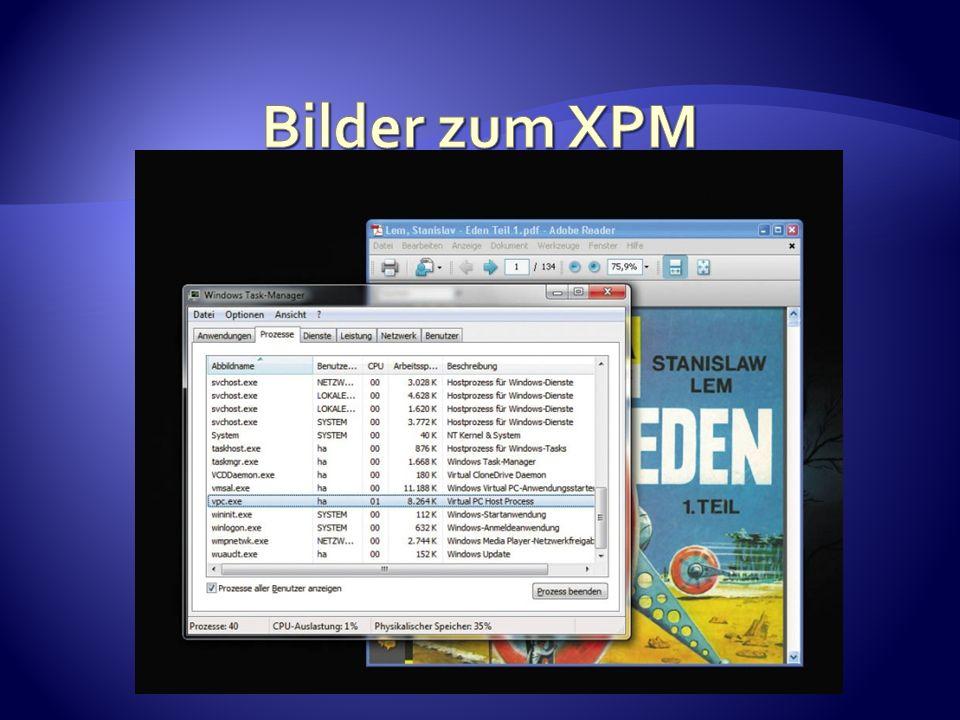 1) Man muss mindestens Windows 7 Professional haben 2) Man muss sich den XP – Mode von der Microsoft Seite herunterladen und installieren 3) Man muss Windows Virtual PC für Windows 7 installieren 4) Man muss im Startmenü unter alle Programme im Ordner Virtual PC auf XPM drücken um ihn einzurichten.