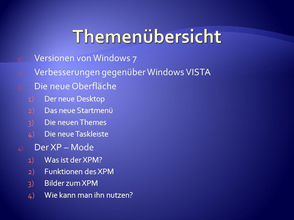 1) Versionen von Windows 7 2) Verbesserungen gegenüber Windows VISTA 3) Die neue Oberfläche 1)Der neue Desktop 2)Das neue Startmenü 3)Die neuen Themes 4)Die neue Taskleiste 4) Der XP – Mode 1)Was ist der XPM.