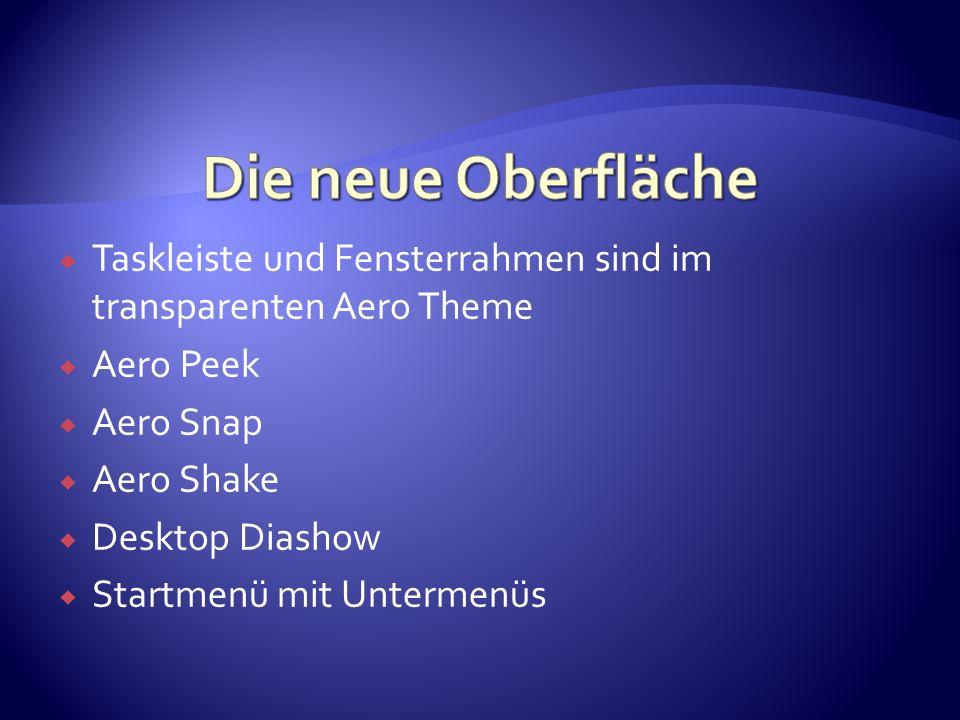 Taskleiste und Fensterrahmen sind im transparenten Aero Theme Aero Peek Aero Snap Aero Shake Desktop Diashow Startmenü mit Untermenüs