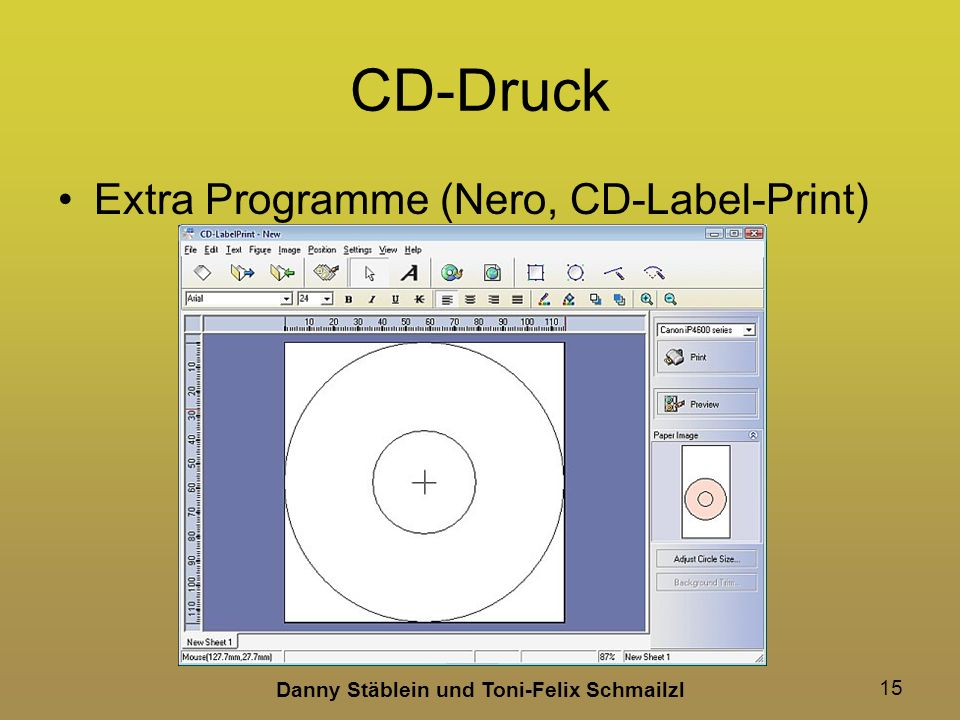 Danny Stäblein und Toni-Felix Schmailzl 15 CD-Druck Extra Programme (Nero, CD-Label-Print)