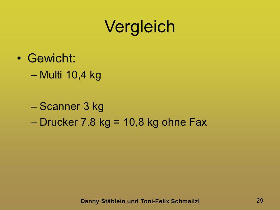 Danny Stäblein und Toni-Felix Schmailzl 29 Vergleich Gewicht: –Multi 10,4 kg –Scanner 3 kg –Drucker 7.8 kg = 10,8 kg ohne Fax