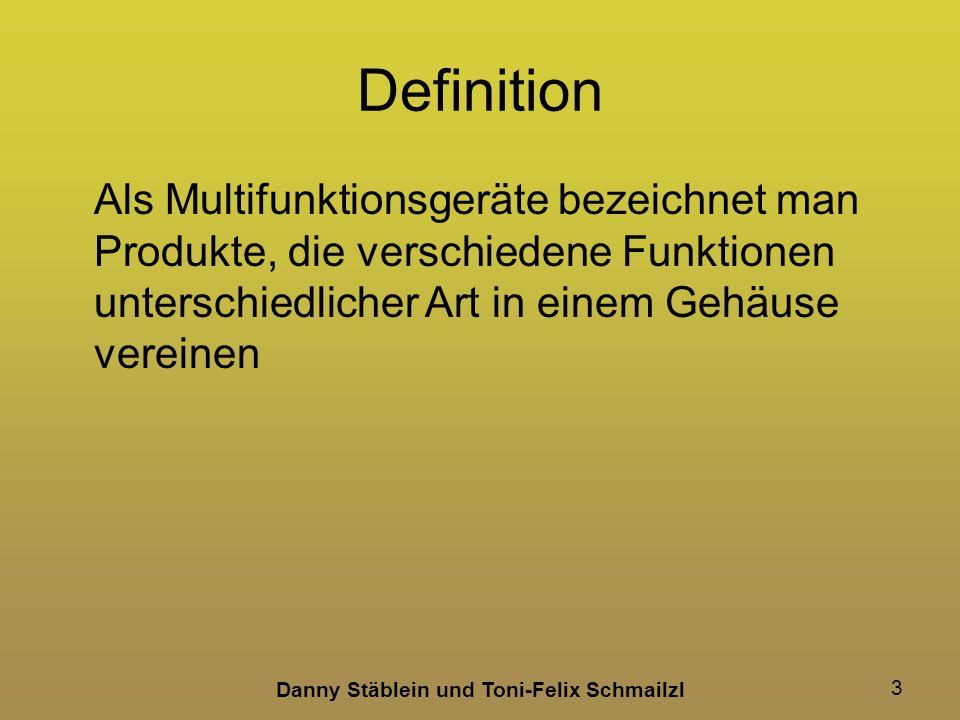 Danny Stäblein und Toni-Felix Schmailzl 24 Kaufkriterien Schnittstellen zur –Verbindung mit einem Medium Bluetooth USB-Eingang Per LAN/WLAN Zugriff auf Daten im Netzwerk SD-Karten Steckplätze Technische Daten: Scanner –Scanqualität (DPI) wichtig ist die optische-Auslösung –Scangeschwindigkeit –Din A4 oder höher –Flachbettscanner oder Einzugscanner Technische Daten: Fax –Faxgeschwindigkeit z.B.