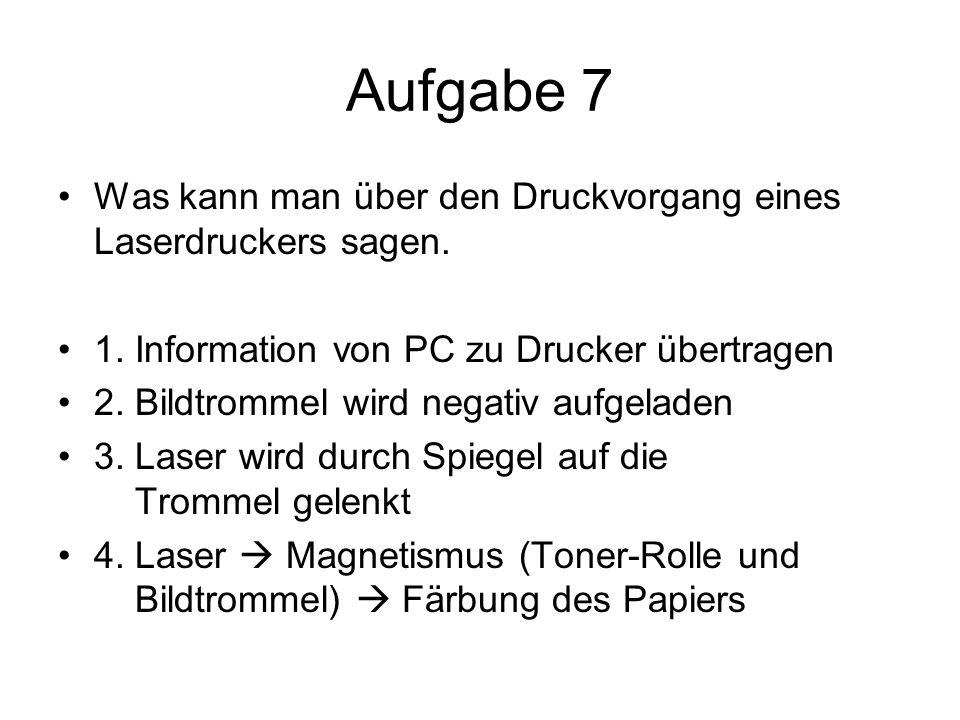 Aufgabe 7 Was kann man über den Druckvorgang eines Laserdruckers sagen.