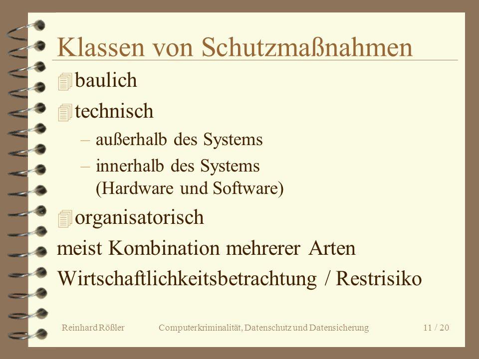 Reinhard Rößler Computerkriminalität, Datenschutz und Datensicherung 11 / 20 Klassen von Schutzmaßnahmen 4 baulich 4 technisch –außerhalb des Systems