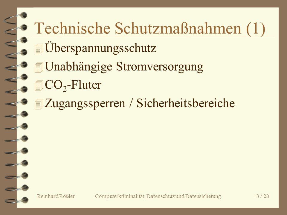 Reinhard Rößler Computerkriminalität, Datenschutz und Datensicherung 13 / 20 Technische Schutzmaßnahmen (1) 4 Überspannungsschutz 4 Unabhängige Stromv
