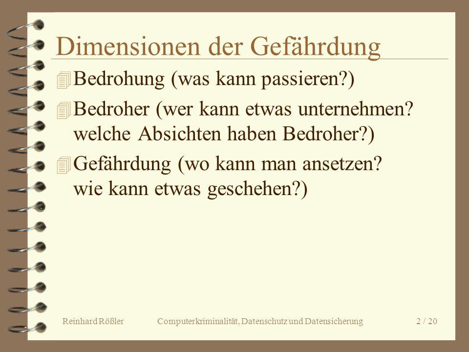 Reinhard Rößler Computerkriminalität, Datenschutz und Datensicherung 2 / 20 Dimensionen der Gefährdung 4 Bedrohung (was kann passieren?) 4 Bedroher (w