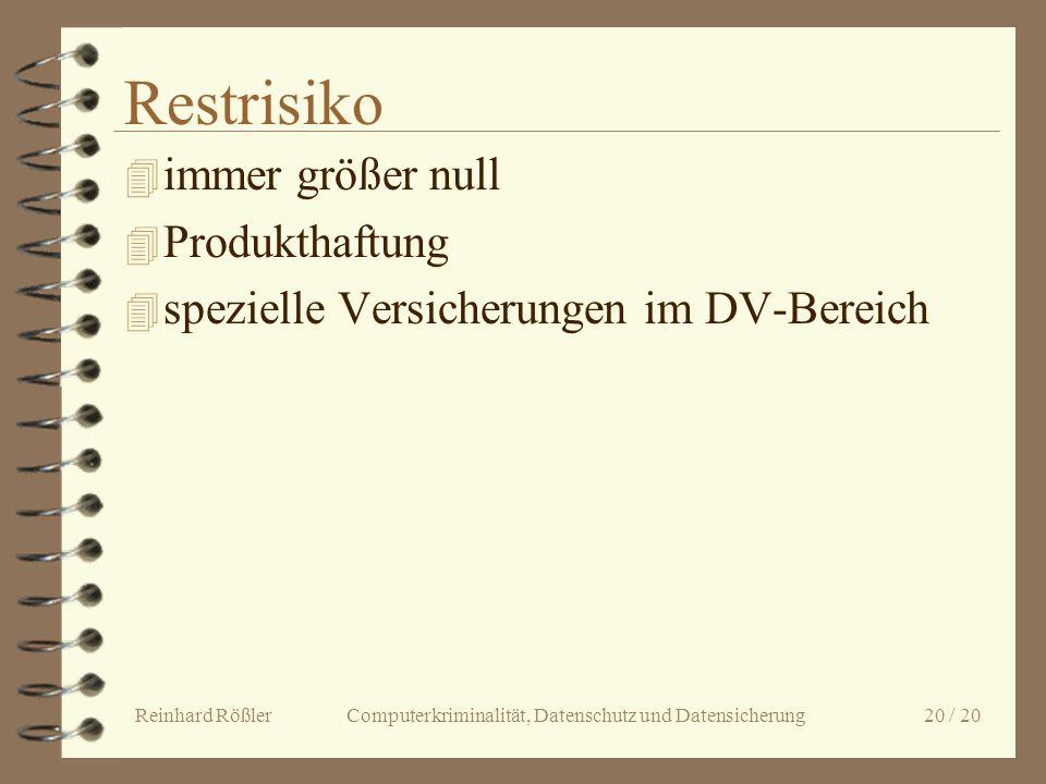 Reinhard Rößler Computerkriminalität, Datenschutz und Datensicherung 20 / 20 Restrisiko 4 immer größer null 4 Produkthaftung 4 spezielle Versicherunge