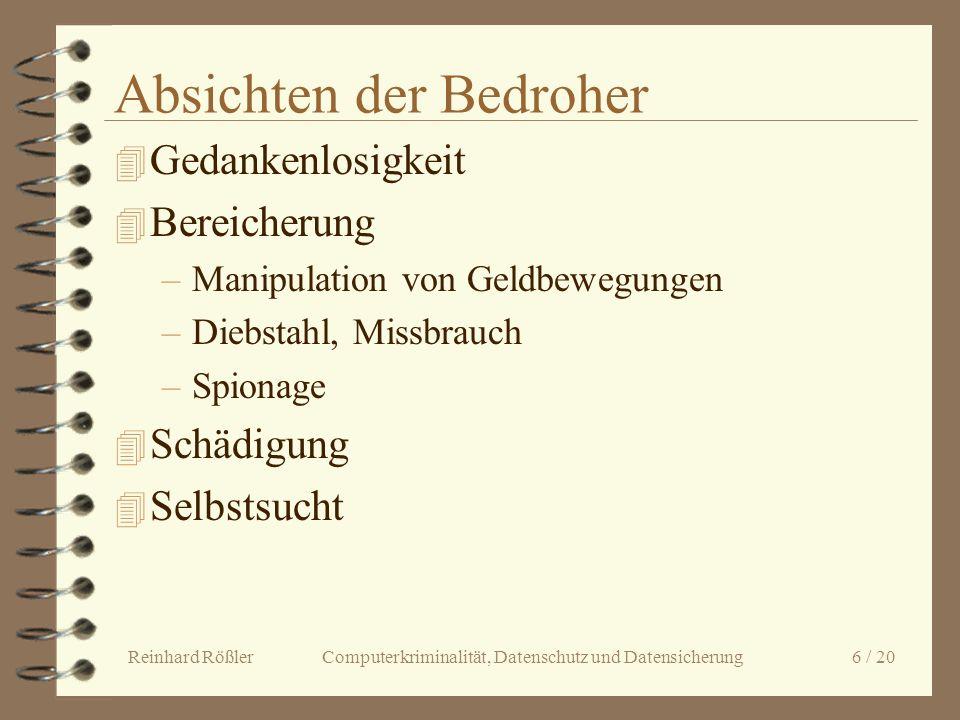 Reinhard Rößler Computerkriminalität, Datenschutz und Datensicherung 6 / 20 Absichten der Bedroher 4 Gedankenlosigkeit 4 Bereicherung –Manipulation vo
