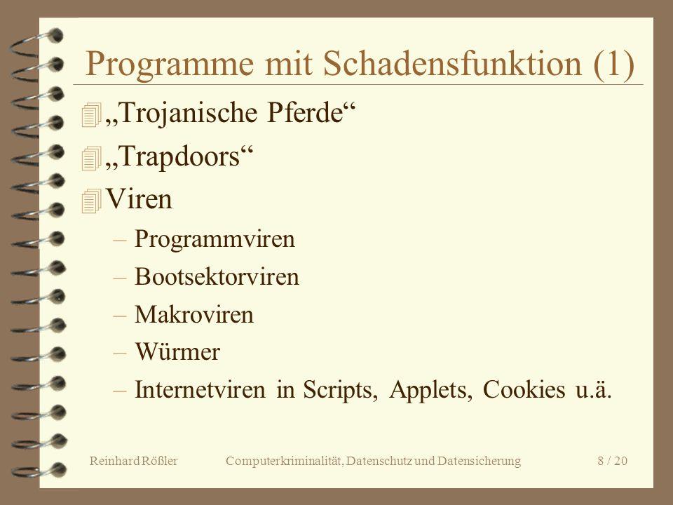 Reinhard Rößler Computerkriminalität, Datenschutz und Datensicherung 8 / 20 Programme mit Schadensfunktion (1) 4 Trojanische Pferde 4 Trapdoors 4 Vire