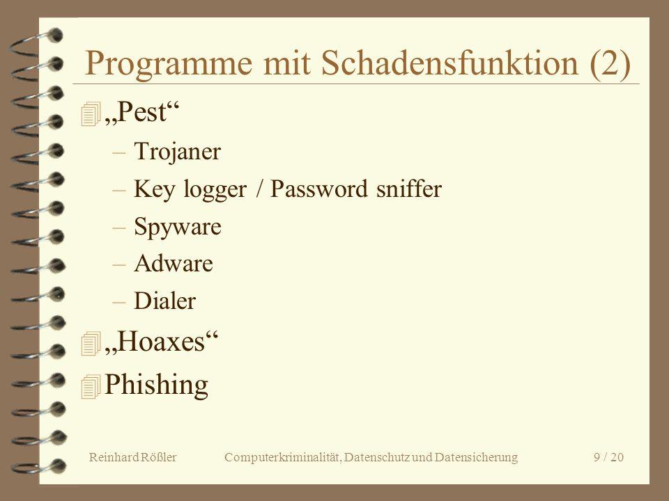 Reinhard Rößler Computerkriminalität, Datenschutz und Datensicherung 9 / 20 Programme mit Schadensfunktion (2) 4 Pest –Trojaner –Key logger / Password
