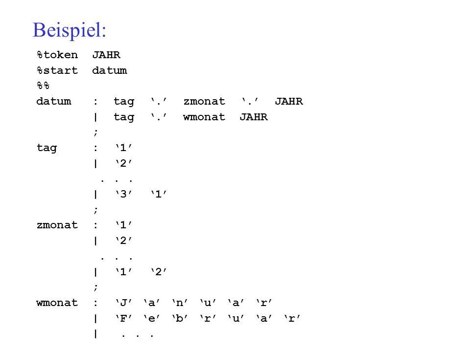 Beispiel: %token JAHR %start datum % datum : tag. zmonat.
