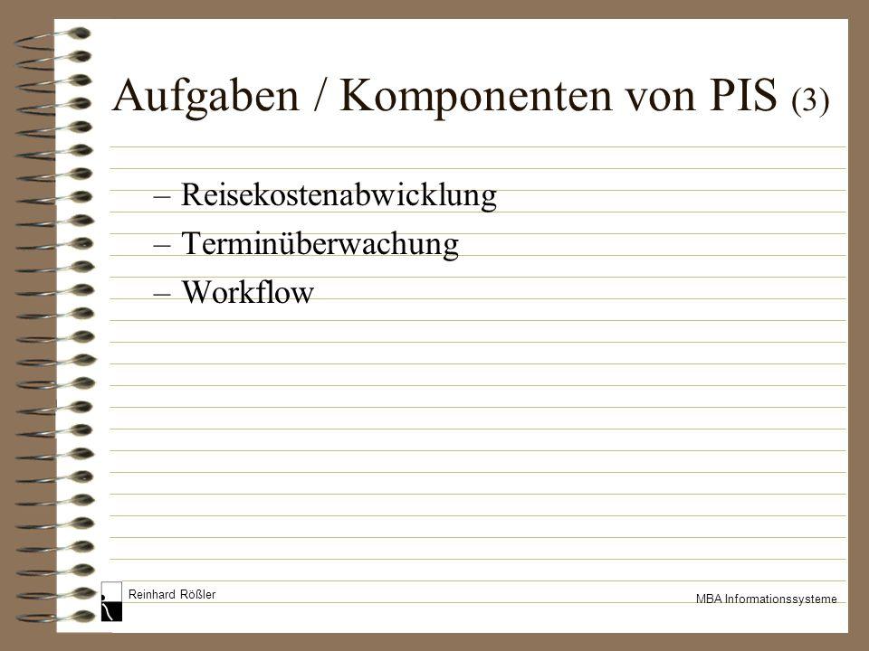 Reinhard Rößler MBA Informationssysteme Aufgaben / Komponenten von PIS (3) –Reisekostenabwicklung –Terminüberwachung –Workflow