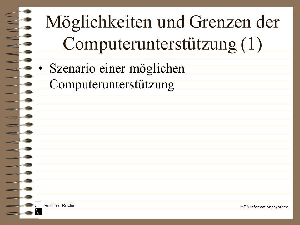 Reinhard Rößler MBA Informationssysteme Möglichkeiten und Grenzen der Computerunterstützung (1) Szenario einer möglichen Computerunterstützung