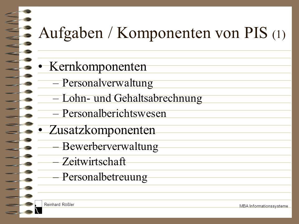 Reinhard Rößler MBA Informationssysteme Aufgaben / Komponenten von PIS (1) Kernkomponenten –Personalverwaltung –Lohn- und Gehaltsabrechnung –Personalb