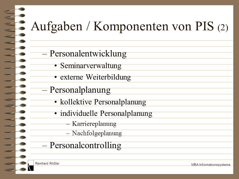 Reinhard Rößler MBA Informationssysteme Aufgaben / Komponenten von PIS (2) –Personalentwicklung Seminarverwaltung externe Weiterbildung –Personalplanu