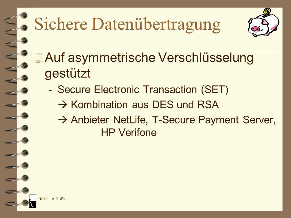 Reinhard Rößler 4 Auf asymmetrische Verschlüsselung gestützt -Secure Electronic Transaction (SET) Kombination aus DES und RSA Anbieter NetLife, T-Secu