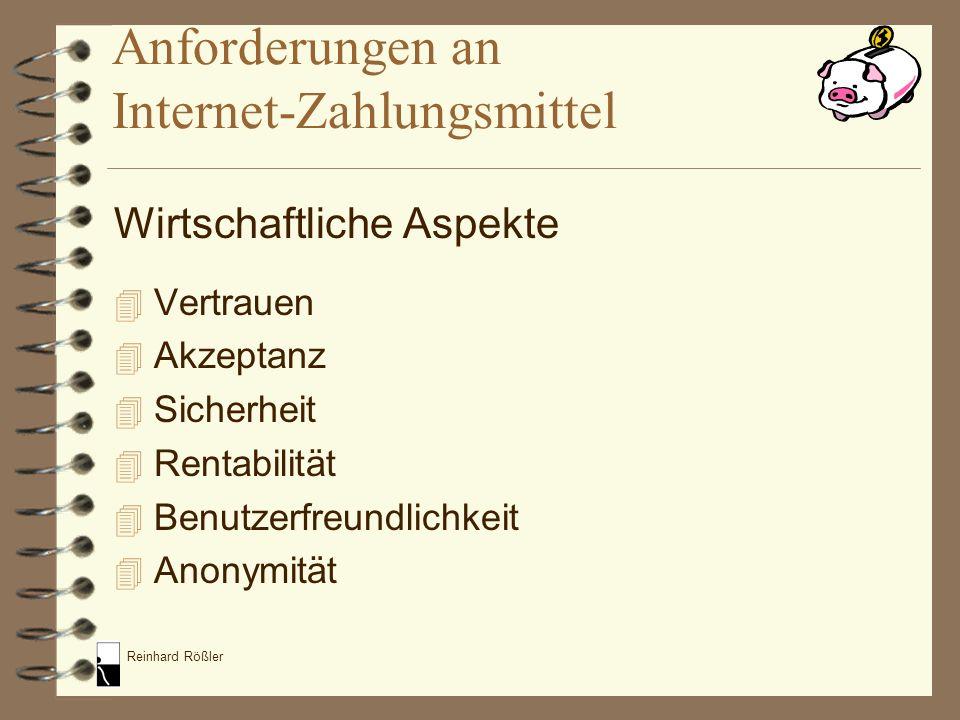 Reinhard Rößler Anforderungen an Internet-Zahlungsmittel Wirtschaftliche Aspekte 4 Vertrauen 4 Akzeptanz 4 Sicherheit 4 Rentabilität 4 Benutzerfreundl
