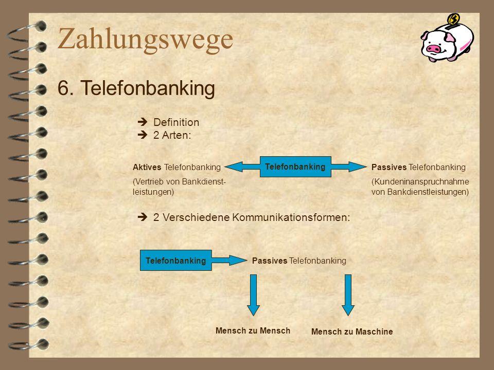 Definition 2 Arten: Telefonbanking Aktives Telefonbanking (Vertrieb von Bankdienst- leistungen) Passives Telefonbanking (Kundeninanspruchnahme von Ban