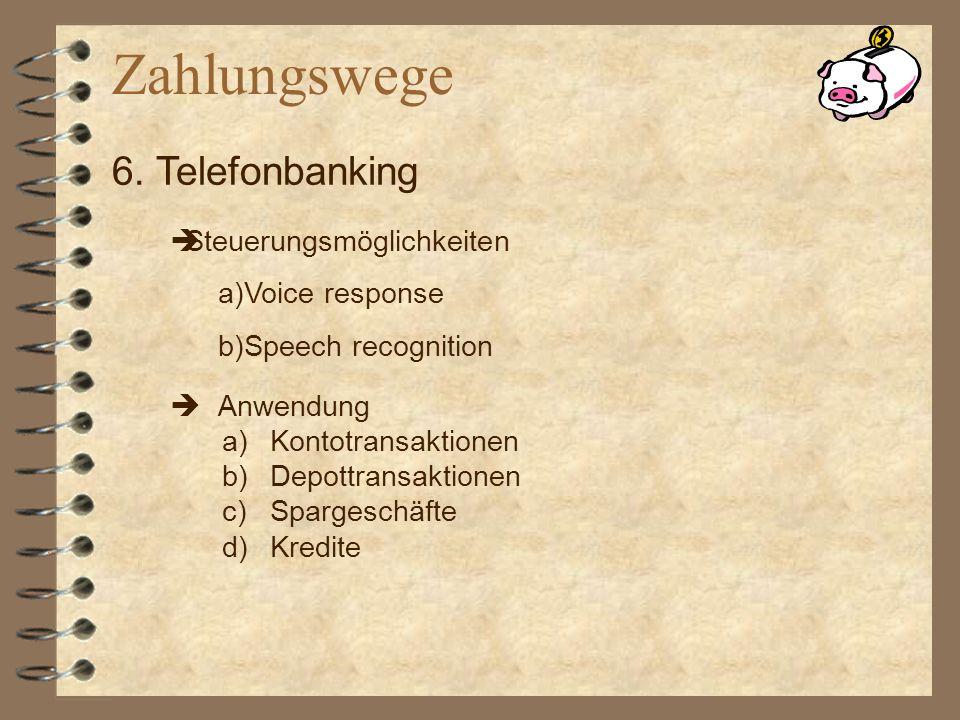 Anwendung a)Kontotransaktionen b)Depottransaktionen c)Spargeschäfte d)Kredite 6. Telefonbanking Steuerungsmöglichkeiten a)Voice response b)Speech reco