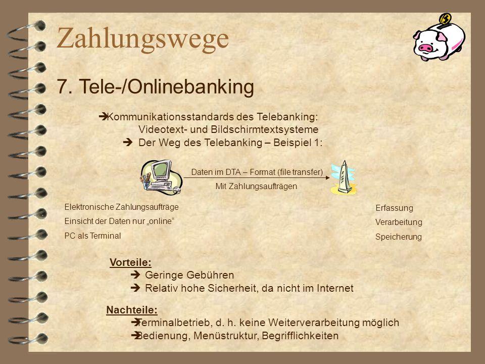 Kommunikationsstandards des Telebanking: Videotext- und Bildschirmtextsysteme Der Weg des Telebanking – Beispiel 1: Daten im DTA – Format (file transf