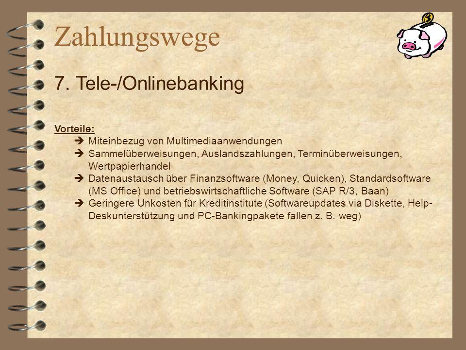 Vorteile: Miteinbezug von Multimediaanwendungen Sammelüberweisungen, Auslandszahlungen, Terminüberweisungen, Wertpapierhandel Datenaustausch über Fina