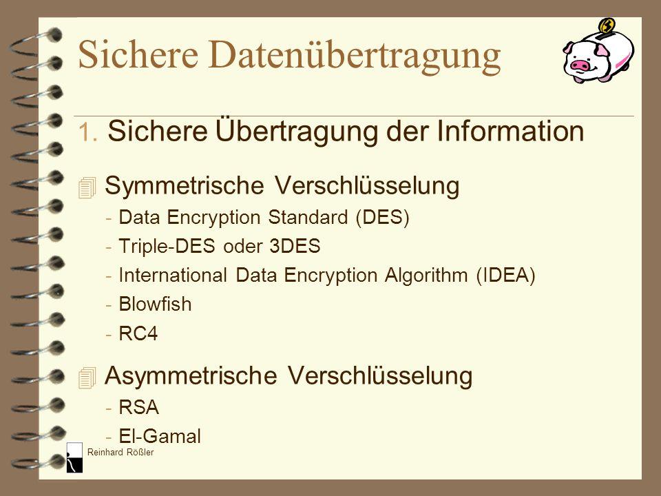 Reinhard Rößler Sichere Datenübertragung 1. Sichere Übertragung der Information 4 Symmetrische Verschlüsselung -Data Encryption Standard (DES) -Triple