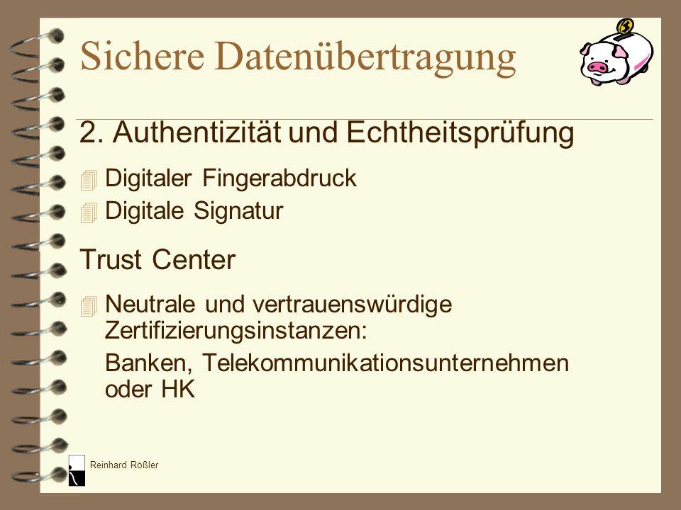 Reinhard Rößler 4 Ausgabe digitaler Unterschriften nach Identitätsprüfung 4 Zusammenfassen des öffentlichen Schlüssels und Namens in einem digitalen Zertifikat Sichere Datenübertragung