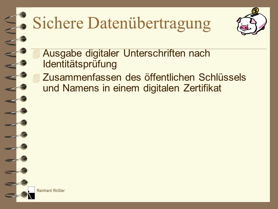 Reinhard Rößler 4 Ausgabe digitaler Unterschriften nach Identitätsprüfung 4 Zusammenfassen des öffentlichen Schlüssels und Namens in einem digitalen Z