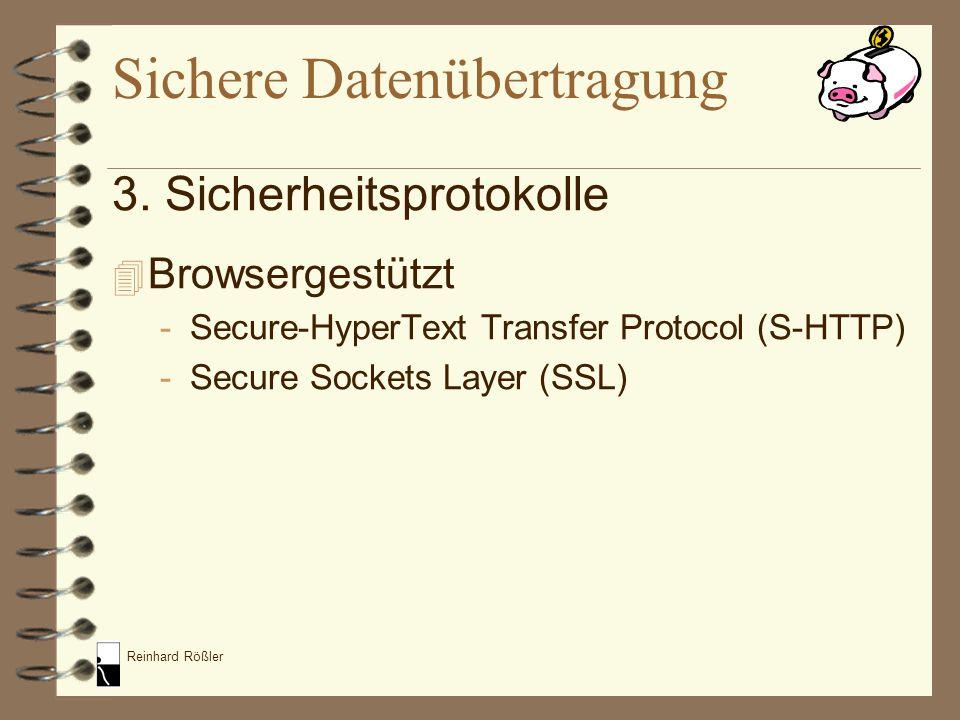 Reinhard Rößler 3. Sicherheitsprotokolle 4 Browsergestützt -Secure-HyperText Transfer Protocol (S-HTTP) -Secure Sockets Layer (SSL) Sichere Datenübert