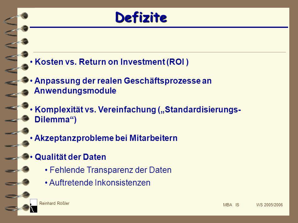 Reinhard Rößler MBA IS WS 2005/2006 Defizite Kosten vs. Return on Investment (ROI ) Anpassung der realen Geschäftsprozesse an Anwendungsmodule Komplex