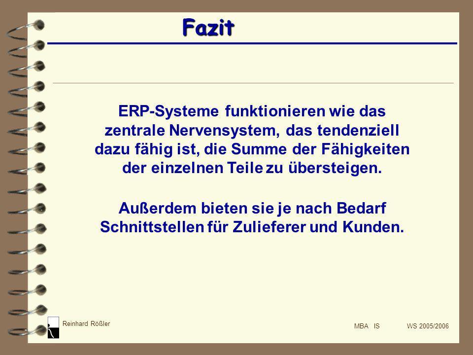 Reinhard Rößler MBA IS WS 2005/2006 Fazit ERP-Systeme funktionieren wie das zentrale Nervensystem, das tendenziell dazu fähig ist, die Summe der Fähig