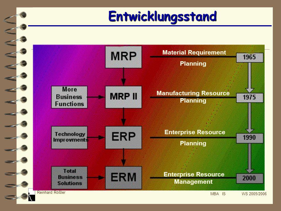 Reinhard Rößler MBA IS WS 2005/2006 Fazit ERP-Systeme funktionieren wie das zentrale Nervensystem, das tendenziell dazu fähig ist, die Summe der Fähigkeiten der einzelnen Teile zu übersteigen.