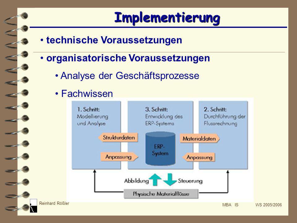 Reinhard Rößler MBA IS WS 2005/2006 Implementierung technische Voraussetzungen organisatorische Voraussetzungen Analyse der Geschäftsprozesse Fachwiss